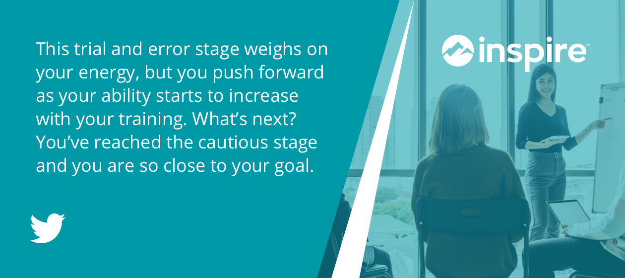 This trial and error stage weights on your energy, but you push forward as your ability starts to increase with your training, What's next? You've reached the #CautiousStage and you are so close to your goal.