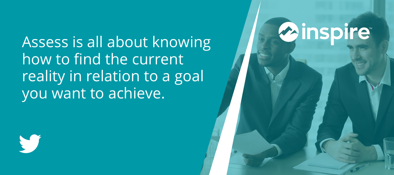 Assess is all about knowing how to find the current reality in relation to a goal you want to achieve.